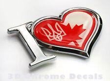 I Love Canada Ukraine Decal Chrome Emblem Sticker Car