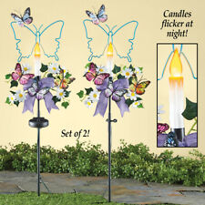 Set of 2 Solar Lighted Butterfly Candle Outdoor Garden Yard Stakes