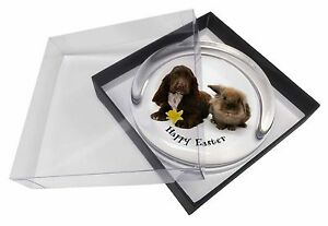 'Happy Easter' Dog+Rabbit Glass Paperweight in Gift Box Christmas P, AD-SC7DA1PW