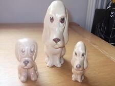 SET OF THREE SYLVAC GRADUATED SAD PUPPY DOG FIGURES