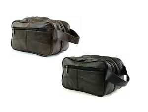 Large REAL LEATHER WASH BAG zipped toiletries toiletry travel Gents Mens Womens