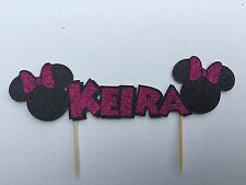 Personalised Minnie Mouse inspired glitter name cake topper (16cm version)