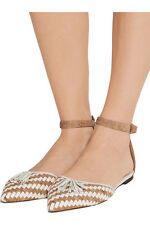 JCREW WOVEN CORK FLATS WITH ANKLE STRAP WHITE KHAKI SOLD OUT NEVER WORN 91/2