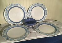 Pfaltzgraff Villa Flora four dinner plates and one cereal/soup bowl (retired)