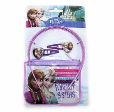 10 PC Girls Disney Hair Accessories Set With Purse Frozen Elsa & Anna Gift Clips