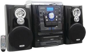 Jensen JMC-1250 Bluetooth Turntable Music Entertainment System - (33/45/78 RPM)