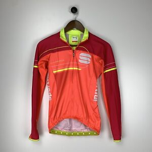 Sportful Gruppetto Long Sleeve Cycling Jersey Small Pink Orange Made In Croatia