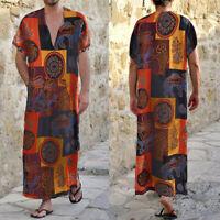 Men's Linen Cotton Muslim Saudi Arab Short Sleeve Thobe Kaftan V Neck Robe Dress