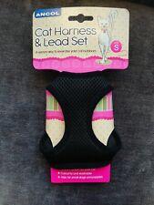Pet Ancol Cat Kitten Soft Mesh Harness & Lead Set Size Small Black New