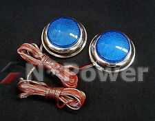 SELF ADHESIVE CHROME SURROUND BLUE LED SIDEMARKERS ROUND PAIR UNIVERSAL FIT