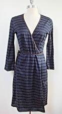 DOSA blue black silver patterned knit wrap dress size 1 small WORN ONCE