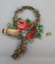 Vintage Victorian Tinsel Rose Bouquet Card Ornament *