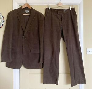 Men Brown Corduroy Suit 42 Chest 34W 32L Single Breasted Cord Jacket Trousers