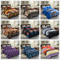 3-Piece Micromink Sherpa-Backing Comforter Set Reversible Down Alternative