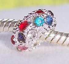 Multi-Color Rhinestone Spacer Bead for Silver European Style Charm Bracelets