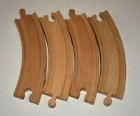 "4 Pieces Thomas the Train and Brio Compatible Wooden 6"" Curved Train Tracks"