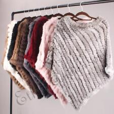 Chic Knitted Poncho Real Rabbit Fur Wrap Womens Pullover Cape Coat Xmas Presents