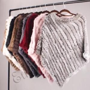 Ladies Popular Hand Knitted Poncho Pretty Wrap Real Rabbit Fur Cape Wedding Top