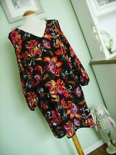 VINTAGE 70'S LOOK FLOATY FLORAL COLD SHOULDER TUNIC 26 60'S/MOD/GOGO/DRESS/HIPPY