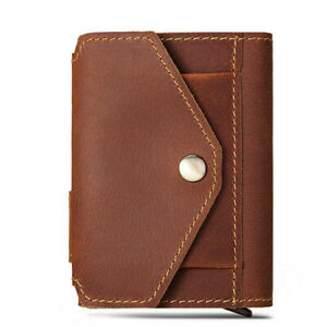 New Crazy Horse Leather RFID Blocking Wallet Multi-function Pop Up  Card Holder