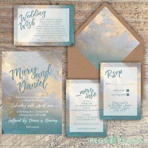 Personalised Luxury Wedding Invitations Blue and beige packs of 10