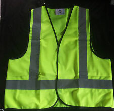 10 x High Visibility Work Safety Vest Fluro Yellow Sizes Small or Medium only