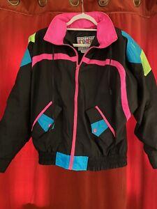 Vintage 80s windbreaker pastel jacket women Size SmallMedium SM Athletic sport shell rain coat 90s abstract lightweight wind jacket