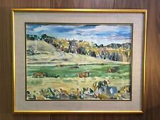 "Original Oil Painting ""Hay Bales by the Trees"" 1993 by Darlene Hay Canadian"