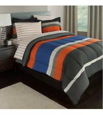 Gray, Orange & Blue Stripes Boys Teen Full Comforter Set (7 Piece Bed In A Bag)