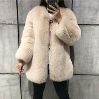 Women's Full Pelt Genuine Natural Fox Fur Coat Jacket Thick Overcoat Outerwear