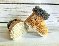 Hand Knitted Baby Booties/Boots/Slippers Sheepskin Style Button Soft 0-12M