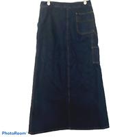 Vtg Forenza Size 6 Long Denim Jean Maxi Skirt Modest Carpenter Pockets Straight