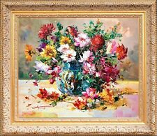 Wooden Gold Framed Oil Painting Signed Texture Still Life Bouquet Flowers Table