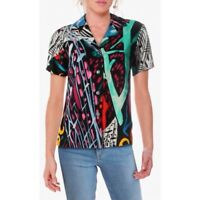 Jams World Womens Multicolor Short Sleeve Collared Illusion Button Front Top L