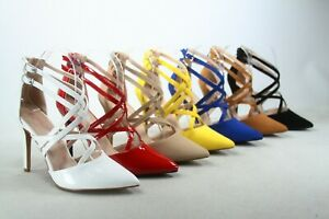 NEW Women's Strappy Pointed Toe Ankle Strap Buckles Zip Heel Dress Pumps Shoes