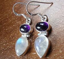 Amethyst and Moonstone Double Gem 925 Sterling Silver Dangle Earrings