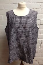 Ladies Dark Blue Tile Print Sleeveless Vest Size 20 Brand New With Tags