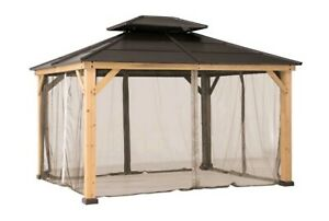 Sunjoy Universal Curtains and Mosquito Netting for 10 ft. × 10 ft. Wood Gazebos