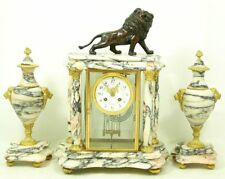 Very Elegant Fireplace Clock Glass Pendule With Lion & 2 Quality Um
