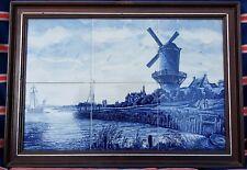 DELFT BLUE FRAMED 6 TILE TABLEAU OF DUTCH LANDSCAPE WINDMILL BOAT PANEL HOLLAND