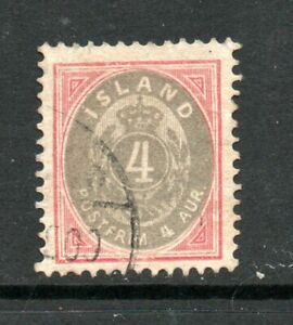 Iceland, 4 a grey and rose, perf. 12.5, SG 27, F/U, 1896 - 1900