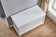 Contemporary Living Room Furniture Storage Bench White Finish Wooden Furniture