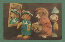 "1940'S RP PC - DRESSED KITTEN & PUPPY CHOOSING HATS ""ALL IS VANITY"""