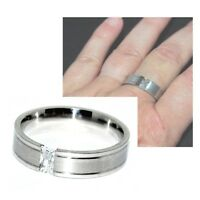Bague anneau homme en acier inoxydable zirconium blanc T 62 66 70 bijou ring