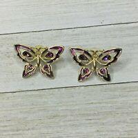 Vintage Purple Amethyst & Gold Tone Butterfly Pierced Earrings