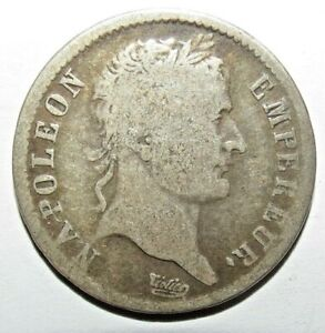 Rare 1 Franc Napoléon Ier 1808 B ROUEN - Argent Silver