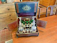 Antique 19th Century European Inlaid Burlwood Tantalus Liquor Bottle Bar Set