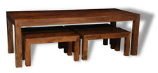 DAKOTA DARK SOLID MANGO 220CM DINING TABLE AND 4 SMALL BENCHES (16N&461N)