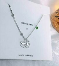 Pave CZ Green Dot 925 Sterling Silver Flower Lucky Clover Beads Pendant Necklace