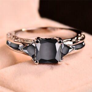 Women Fashion Princess Square Cutting Black Zircon Wedding Ring Party Gift